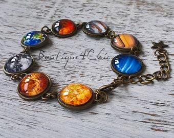 Solar system bracelet - planet bracelet - space, galaxy, astronomy