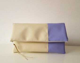 Clutch purse, Clutch bag, Foldover clutch, Color Block, Cream and Lilac, Ivory clutch, Pastel