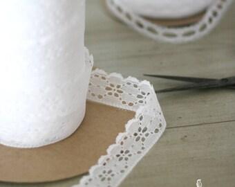 """1 1/4"""" White Lace Trim/Ribbon - Wedding/Decor/Boho/Flower Girl/Favors/Dream Catcher/Gift Packaging/Invitations"""