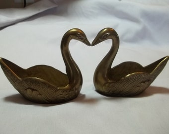 CLEARANCE SALE Vintage brass swan couple