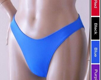 80s 90s High Leg Bikini Bottom with Moderate Coverage in Black, Blue, Red, Purple. Green. Yellow, Orange, Turquoise, White, Burgundy, Brown