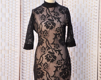 Lace night dress ,hand made collection black/pink, high quality