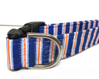 Naked Dog Collar- The Blue and Orange Stripes- Adjustable Collar