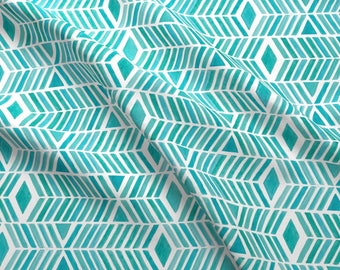 Watercolor Diamonds + Stripes Fabric - Watercolor Chevrons By Wildnotions - Watercolor Home Decor Cotton Fabric By The Yard With Spoonflower