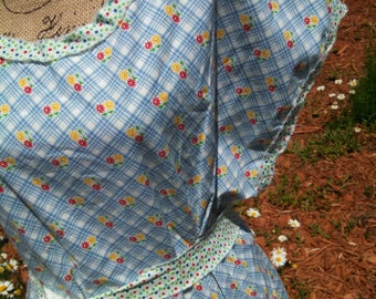 """Blue ditzy 1930 reproduction printed """"mama""""apron tunic"""