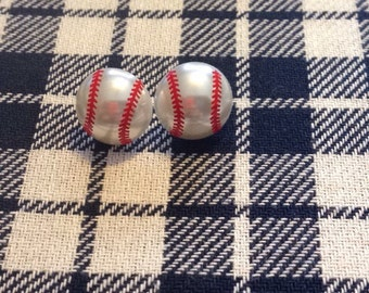 Baseball faux pearl earrings/baseball/baseball mom/baseball earrings/pearl posts
