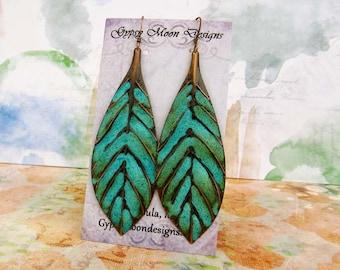 Turquoise Earrings bohemian jewelry Boho earrings long leaf earrings Patina Copper Dangle Drop
