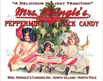 Christmas Vintage Candy Label Digital Download Printable Tag Clip Art Scrapbook Collage Sheet Image