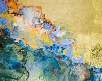 "Seeing Past the Veil. Original Encaustic oil painting. 20""x20"""