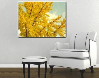 Yellow tree canvas art, large yellow wall art, oversized art canvas print, Ginkgo biloba Autumn canvas, gold amber aqua mint living room