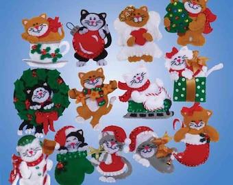Design Works Felt Applique Kit ~ LOTS OF KITTENS - Ornaments Set of 13 - #5396