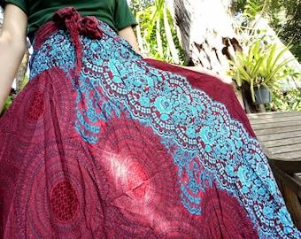 Tribal skirt Hippie skirt Rose clothes  Flower skirt Haram skirt Scarlet clothing Boho skirt Bohemian skirt