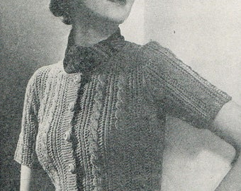 Vintage 30s Knitting Pattern - Women's Easy to Knit Jumper in Thick Soft Wool - instant download PDF - 1930's Retro Sweater