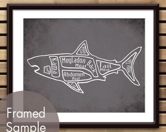 Megladon - Shark Dinosaur Butcher Diagram Series - Art Print (Featured in Charcoal) (Buy 3 and get One Free)