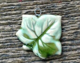 Ceramic Pendant, Ivy Leaf, Leaf Pendant, Leaf Charm, Clay Pendant, Clay Ivy Leaf, Pottery Leaf, Pottery Pendant