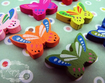 Cute Butterfly Wood Beads, mixed color butterfly, kids beads, wood beads, butterfly insect, kawaii, jewelry making - reynaredsupp