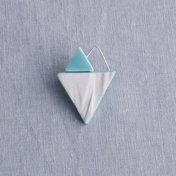 RUCHED No10 geometric heart brooch