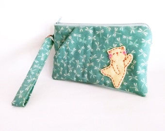 Cat wallet wristlet with strap for iPhone 6 in dragonfly fabric