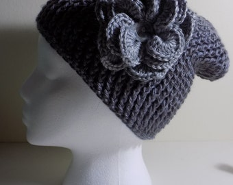 Grey Slouch Hat with Flower Accent-Just For Mom