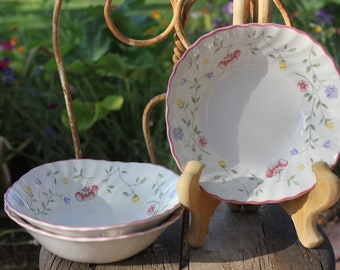 1988 - 2003 Vintage Johnson Brothers / Bros - SUMMER CHINTZ - Set of Three ( 3 ) Coupe Cereal Bowls - 6 inches - Excellent Condition