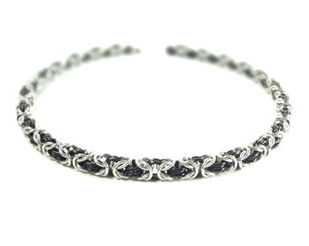Black And Silver Byzantine Weave Chainmaille Necklace Handcrafted