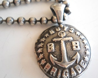 Antique Wax Seal Silver BOYS BRIGADE Anchor Pendant, Symbolic Talisman Jewelry for MEN,  Jewellery,  Your Daily Jewels, Mens Gift,