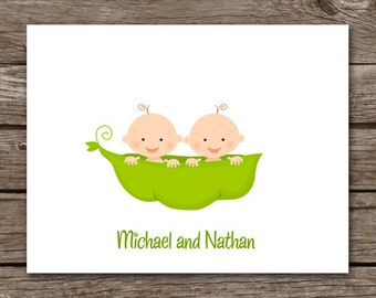 PRINTABLE Twins Note Cards, Twins Cards, Twins Thank You Cards, Twins Baby Shower, Personalized Note Cards