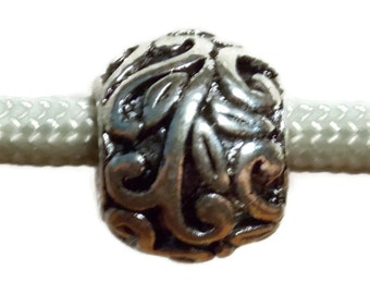 Ornate Silver Metal Leaf Bead with big hole for use with 550 Paracord or European Charm Bracelets