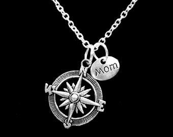 Mother Gift, Compass Long Distance Necklace, Nautical Direction Travel Mom Gift Necklace