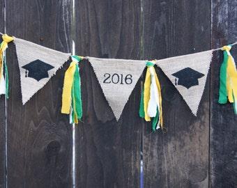 Graduation Banner, Class of 2017, Grad Cap, Grad Banner, Mortar Board, College, High School, Middle School, Graduate, Green and Gold