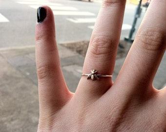Tiny Little Bumblebee Sterling Silver Stacking Ring - Brass on Silver - custom made to order