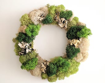 Table Centerpiece Wreath with Reindeer Moss and Lichen Accents - Home Decor