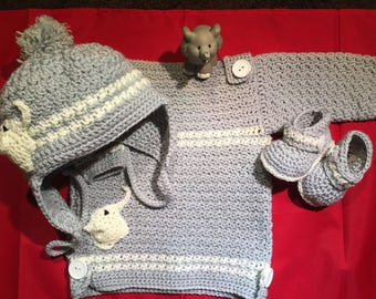 Boat necked jumper, beanie & bootees