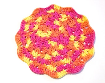 Playtime Crocheted Round Shell Stitch Dish Cloth