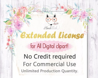 No- Credit Commercial License FOR ALL digital clipart! Unlimited Production Quantity.