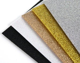 5 Sheets A4 Sparkly Glitter Felt - Metallics Card Making Bow Making Crafts