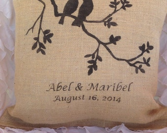 Personalized burlap pillow, personalized wedding pillow, love bird pillow, custom wedding gift
