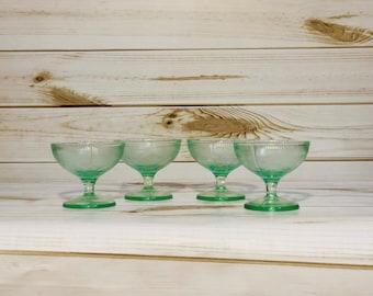 Set of 4 Green Vaseline Glass cups