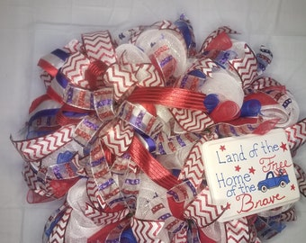 4th of July wreath,red white blue wreath, July 4th wreath, patriotic wreath,American wreath,American front door wreath,Patriotic door wreath