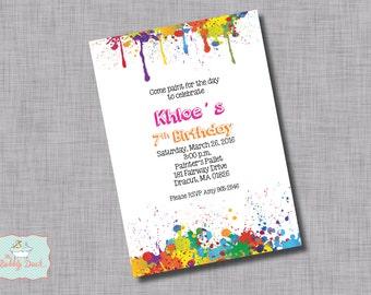 Paint Splatter Birthday Invitation