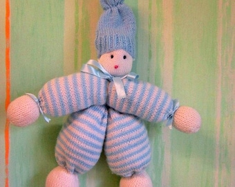 Plush Toy - marionette knitted blanket - baby blanket - wool blanket - marionette puppet - handmade - Unique - Made in France