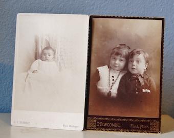 Antique Cabinet Cards 1890s Photos Children in Flint Michigan Lot of 2 Vintage Supplies
