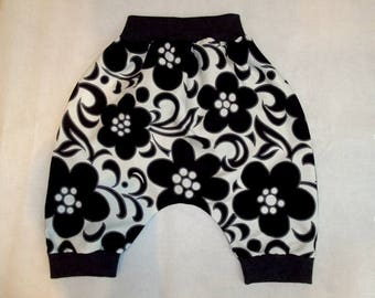 Harem pants, cotton, unisex, evolutionary 6-36 months, black and white