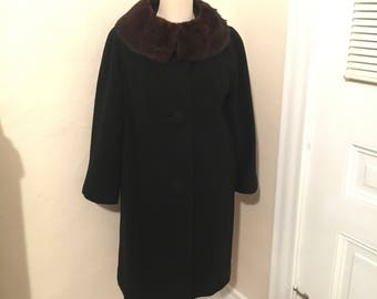 1950s 100% Cashmere Coat with Mink Collar 50s Cashmere 50s Mink Coat Pin Up Coat Old Hollywood Glamour Marilyn Monroe 1950s Evening Coat