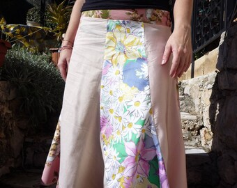 Plain and flowered pathwork gored skirt