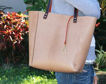 leather tote bag - only one available - one-of-a-kind - made in USA - 010083