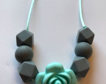 necklace/ mint and grey/ nursing necklace/ chewlery/ chew and play