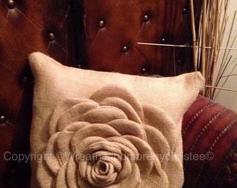 Burlap flower pillow 24x24