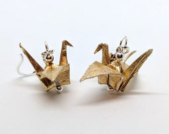 "1"" Gold Origami Earrings"