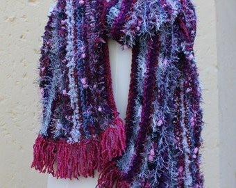 Shawl , Shoulder wrap ,Eccentric scarf , Winter knit scarf , Extra long warm cosy scarf , Out of Africa SCAWL -POMEGRANATE.